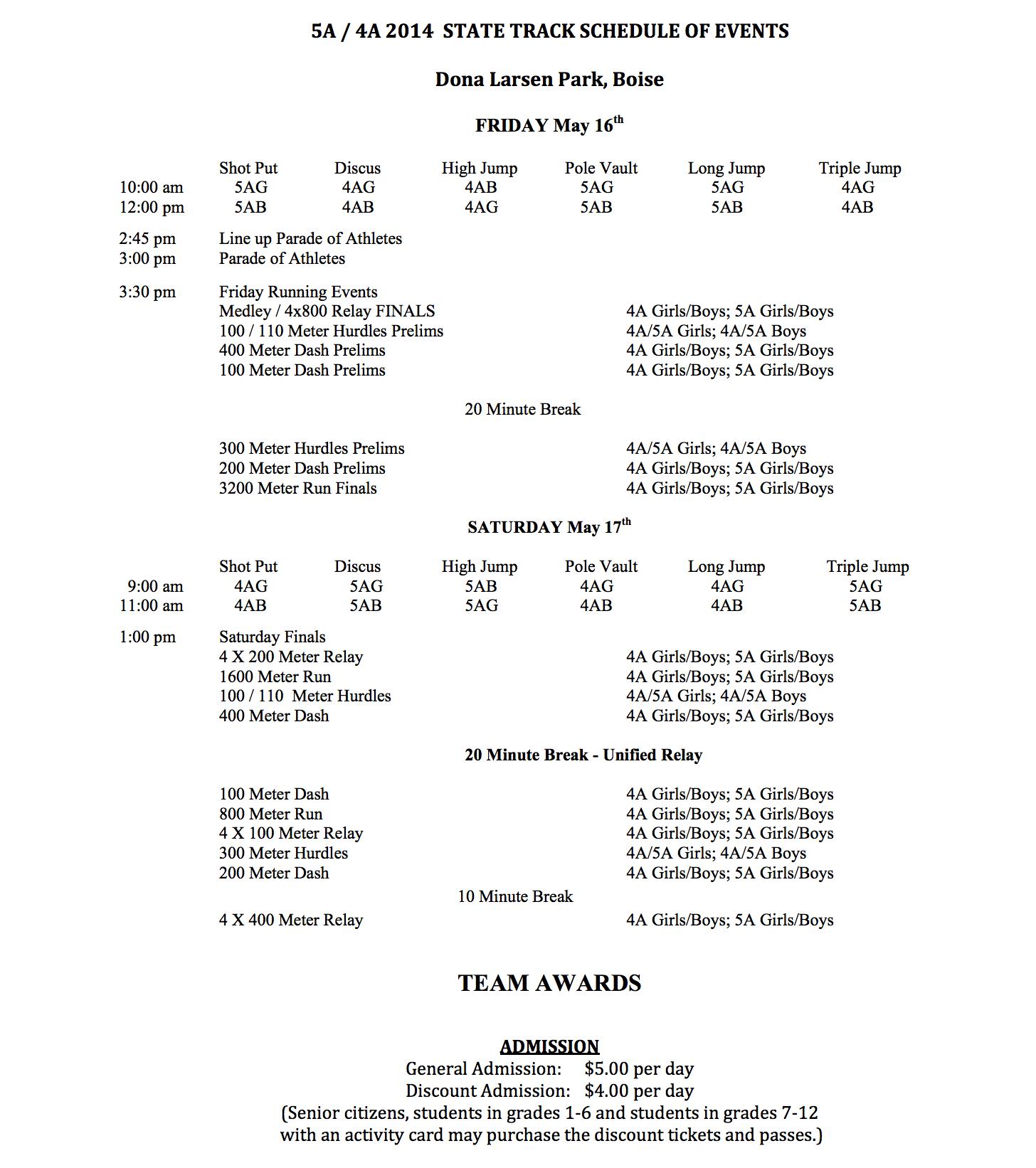 idaho state track meet schedule