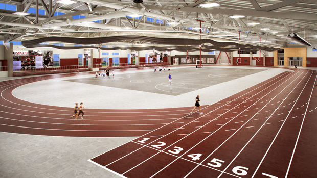 rendering gives a impression of what the finished WSCU Indoor track ...